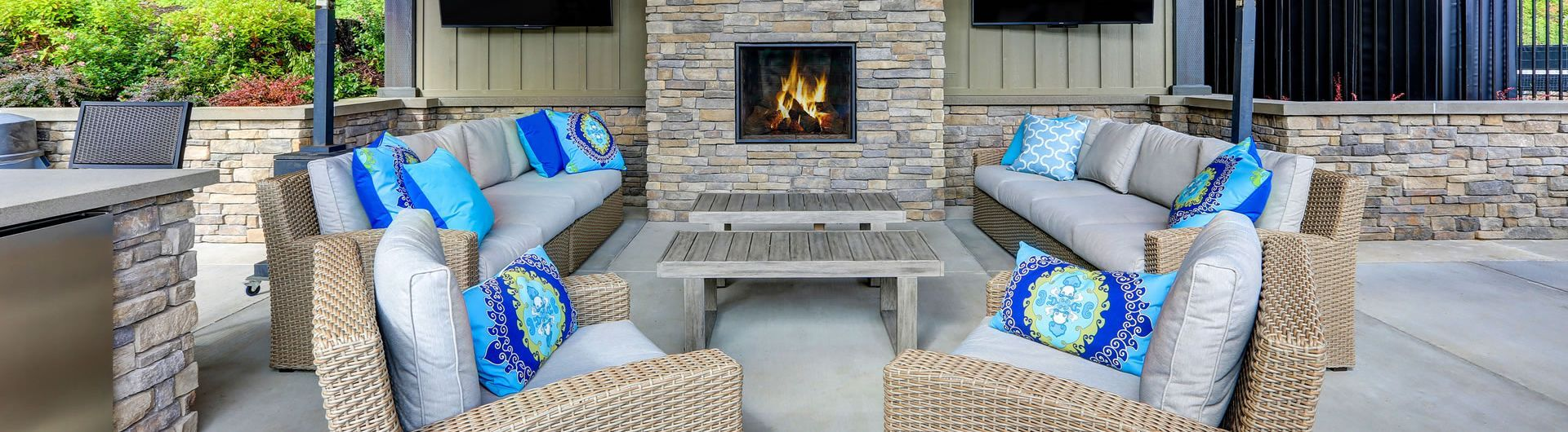patio setting with fireplace