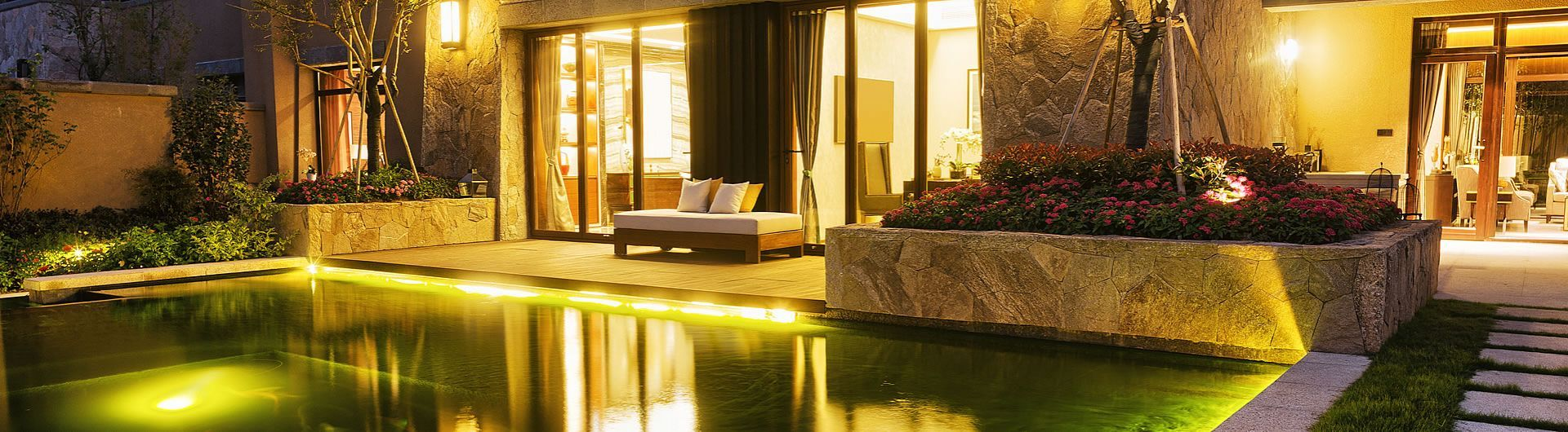 Evening pool and patio